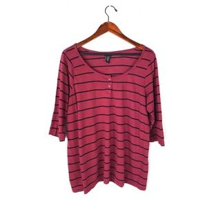 Torrid blouse striped 2x 3/4 sleeve tunic scoop